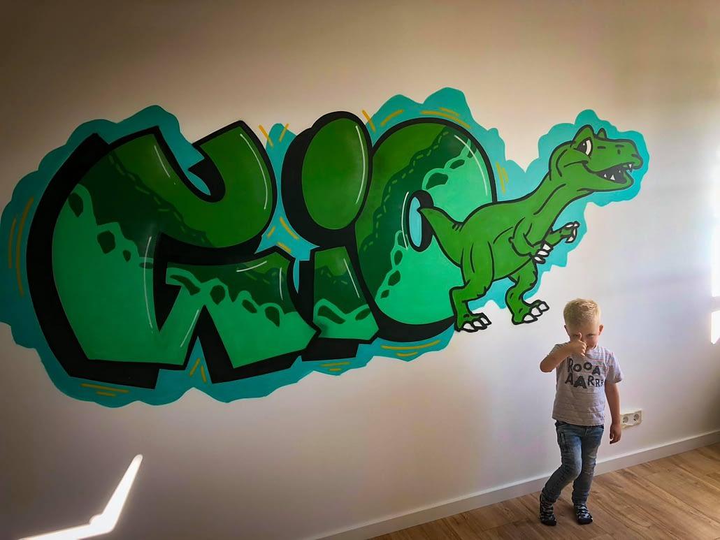 Gio dinosaurus kinderkamer graffiti