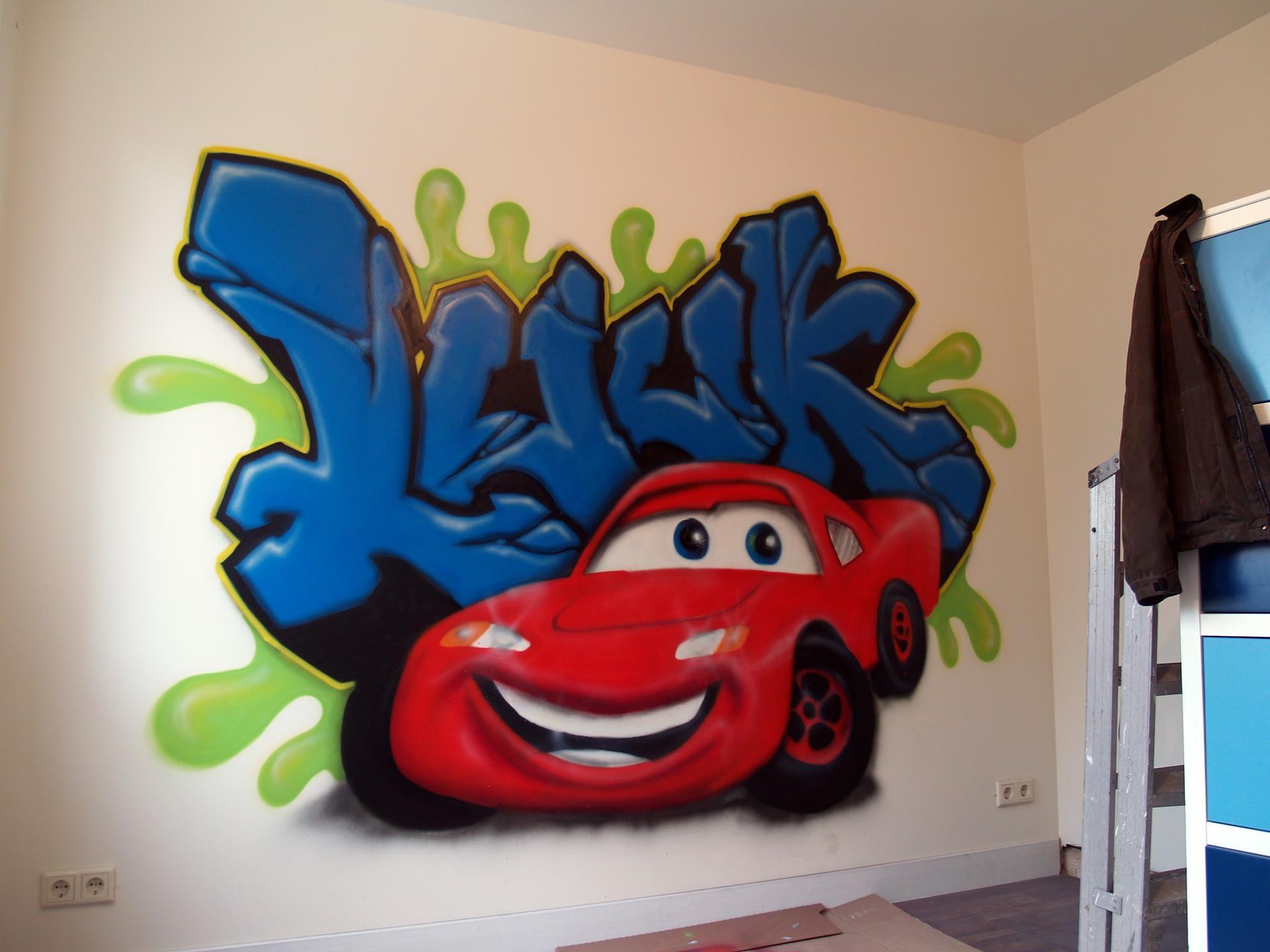 Graffiti muurschilderingen kinderkamer Cars